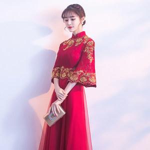<span class=H>敬酒服</span>新娘冬季2018新款红色旗袍中式晚礼服女出阁结婚衣服中国风