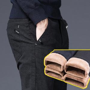 男士加絨褲子男褲冬季加厚寬松直筒中年保暖冬裝棉褲毛呢休閑褲男