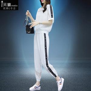 2019夏季新款运动套装女洋气宽松显瘦休闲短袖两件套时尚潮流欧货