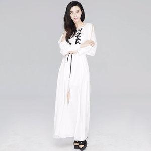 张帅<span class=H>连衣裙</span>2018新品夏季气质清新白色修身系绳范冰冰明星同款裙子