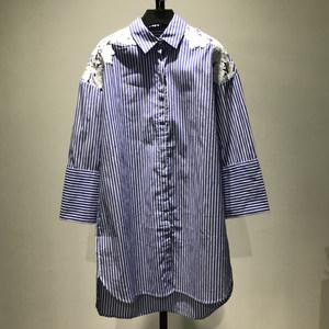 【禾】品牌折扣女装专柜正品条纹中长款衬衫12月24日晚8点上新