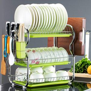 三层<span class=H>厨房</span>置物架两层沥水碗碟架放碗筷沥水架碗架收纳架子碗盘用品