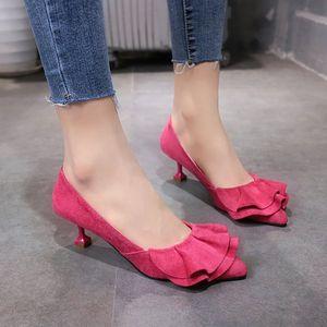 高跟鞋工作女细跟百搭低跟3cm少女婚鞋甜美黑色舒适职业红色单鞋