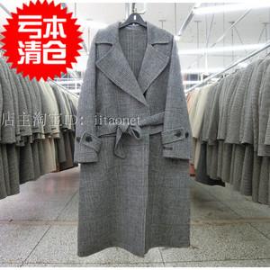 反季韩版韩国双面绒羊绒<span class=H>大衣</span>羊毛呢外套方格子大翻领收腰中长款女