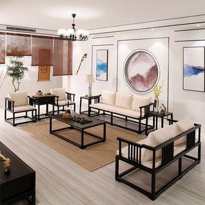 新中式<span class=H>沙发</span> 现代中式禅意实木<span class=H>沙发</span> 样板房茶楼酒店中国风复古家具