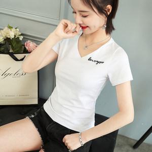 纯棉V领短袖<span class=H>T恤</span>女2019夏季新款 白色修身显瘦字母刺绣紧身打底衫