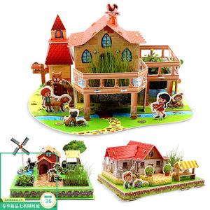 2018上新3D立体拼图纸质种植物盆栽开心农场建筑模型儿童DIY益智