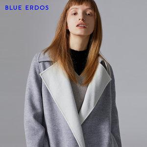 BLUE ERDOS 秋冬风衣式纯羊毛双色毛呢女士<span class=H>大衣</span>