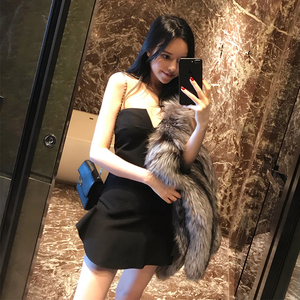 BGM 2018春夏新款女装网红性感收腰裹胸小礼服修身显瘦抹胸连衣裙
