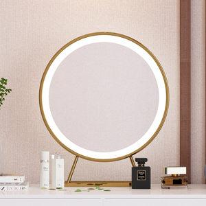 北欧现代网红<span class=H>化妆镜</span>卧室ins风格铁艺带led灯台式桌面金色大圆形镜
