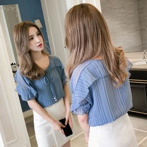 2019夏季新款短袖雪纺衬衫女超仙洋气时尚百搭荷叶边薄款纯色<span class=H>上衣</span>