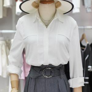 了了在韩国2018秋新款白色一排扣直筒薄款衬衣雪纺衫<span class=H>衬衫</span>女
