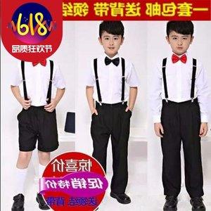 男童短袖白衬衫纯黑色西装长裤套装夏季儿童衬衣礼服男孩表<span class=H>演出服</span>
