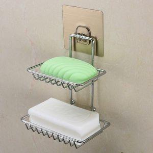 不锈钢免打孔两层<span class=H>肥皂</span>盒吸墙挂壁装放香皂的<span class=H>架子</span>贴墙上皀肥罩盒子