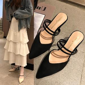 2019夏季新款性感外穿鞋子时尚拖鞋尖头高跟鞋气质凉鞋细跟女鞋潮