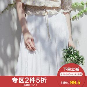 ASELF/若己半身裙<span class=H>女士</span>2018夏季女中腰文艺百搭舒适半裙商场款5