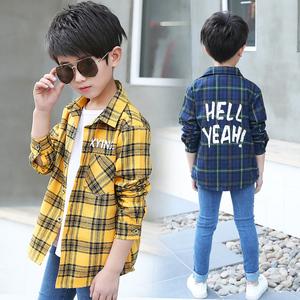 男童格子衬衫长袖衫时尚潮儿童衬衣