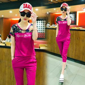 运动套装女潮2019夏天新款休闲时尚短袖夏季韩版显瘦跑步服两件套