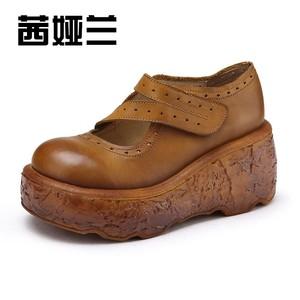 茜娅兰秋冬真皮<span class=H>女鞋</span>新品厚底坡跟手工复古圆头里外全皮