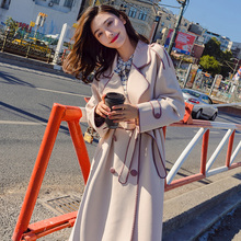 Windshield Women's Mid-long Spring Garment 2019 New Korean Version Loose Large Size Long Knee Overcoat Temperament Spring and Autumn Overcoat