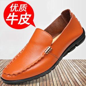 皮鞋男春季男士休闲鞋真皮韩版<span class=H>豆豆鞋</span>男一脚蹬懒人透气潮流男鞋子