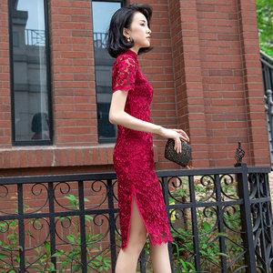 改良版<span class=H>旗袍</span>敬酒服新娘2019结婚新款红色日常新式中式短款连衣裙夏