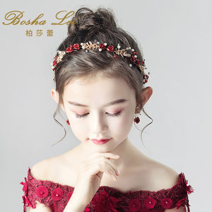 儿童<span class=H>头饰</span>红色头花花环发带女童发饰公主女孩发箍主持钢琴演出饰品