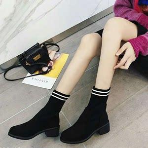 【5Gshop女鞋】秋冬大上新针织袜子靴圆头简约舒适中筒保暖靴子潮