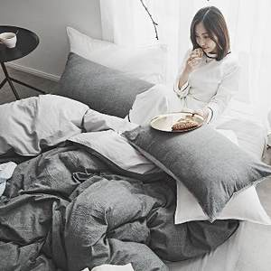 简约水洗棉纯色四件套裸睡双人被套单人3件套<span class=H>床单</span>床笠式床上用品