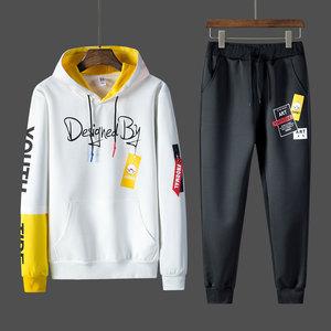 春季<span class=H>卫衣</span>男套装休闲运动两件套青少年高初中学生13-15岁外套薄款