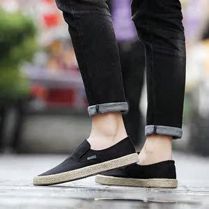 中国风<span class=H>男鞋</span>夏季透气休闲帆布鞋男草编麻绳板鞋一脚蹬懒人布鞋男潮
