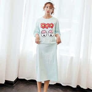 直批短袖睡裙女士纯棉加长三朵花可爱韩版睡衣大版宽松家居服