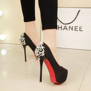 超<span class=H>高跟鞋</span>14cm 单鞋欧美夜店性感防水台浅口<span class=H>高跟鞋</span>水钻细跟黑色女
