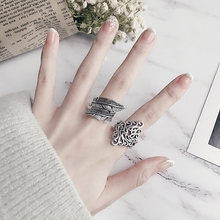 S925 Silver Ring Female Japanese and Korean Simple Students Creative Opening Individual Chaozhou Atmospheric Baitao Leaf Forefinger Ring