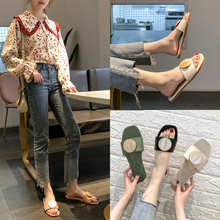 Flat-soled slippers for women wearing summer new Korean version of metal round buckle, soft bottom, open toe, round head, one-word drag, anti-slip cool drag