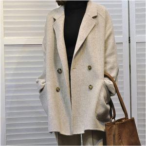 秋冬新款韩版双面手缝羊毛羊绒大衣双排扣毛呢格子外套短款女反季