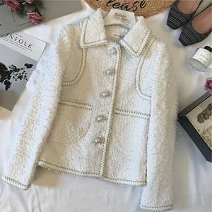 陈米米18年秋季新款女装法式优雅小香风减龄珍珠扣粗花呢<span class=H>西装</span>外套