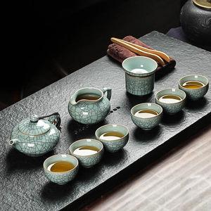净隐龙泉<span class=H>青瓷</span>整套功夫茶具冰裂陶瓷家用<span class=H>茶壶</span>茶杯茶海单杯礼盒套装