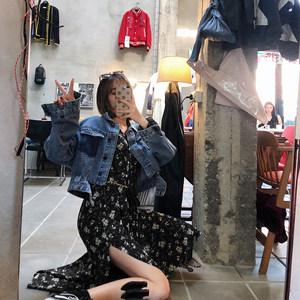 2019新款女装春装时尚法式复古裙子过膝山本超仙碎花长袖<span class=H>连衣裙</span>女