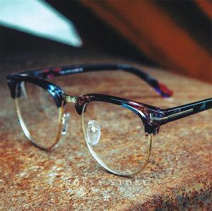 眼镜架女士圆脸板材眼<span class=H>镜框</span>潮男款韩版碎花色复古半框近视镜架大脸