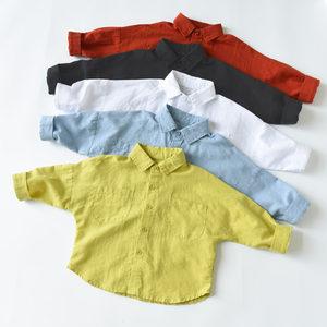 洋气<span class=H>棉麻</span><span class=H>衬衫</span> 男童<span class=H>女童</span>长袖上衣 宽松舒适 儿童秋装新款