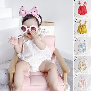 夏季薄款婴儿纯棉洋气吊带三角包屁衣女宝宝甜美樱桃印花无袖<span class=H>哈衣</span>