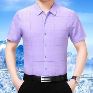 夏季真丝短袖<span class=H>衬衫</span>男中年商务休闲格子桑蚕丝半袖衬衣宽松爸爸装薄