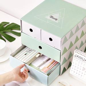 安蔻 加大号纸质折叠抽屉式办公桌面<span class=H>收纳盒</span> 可爱化妆品整理盒手帐