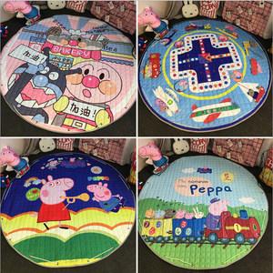 韩式圆形儿童可爱卡通防滑地垫玩具抽绳收纳袋游戏爬行毯可机洗