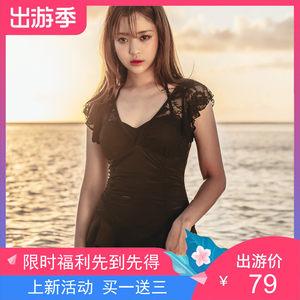 2019裙式黑色纯色带钢托带胸垫新款连体大码<span class=H>泳衣</span>钢托 梦溪游1905