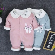 Newborn onesies spring baby girl baby set 0 1 year old clothes cotton thin cotton warm quilted clothes