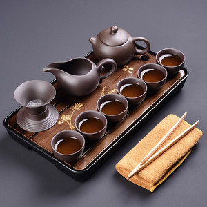 紫砂<span class=H>陶瓷</span>功夫茶具套装家用<span class=H>茶杯</span>简约办公实木小茶盘抽屉式茶台整套