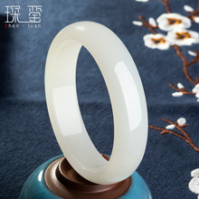 Xinjiang Hetian white jade bracelet female sheep fat jade bracelet girl models authentic natural jade bracelet to send mother to send