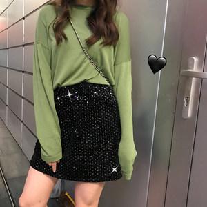 kumayes 韩版性感亮片小黑裙高腰包臀女士短裙有裙衬新款半身女裙